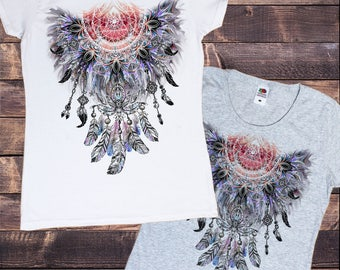 Women's T-Shirt Tribal Red Indian Native American Feathers Fusion Culture Novelty TS707