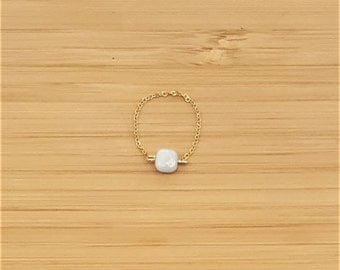 Amazonite plate gold chain ring