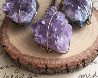 Raw Amethyst Necklace - Amethyst Necklace - Amethyst Geode Necklace -Amethyst Stone Jewelry - Raw Stone Necklace - Amethyst