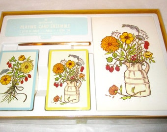 Vintage HALLMARK Pitcher of FLowers Playing Cards BRIDGE Ensemble 2 Decks, Score Pad & Gold Metal Pencil Sealed Rustic Floral Gift Boxed NEW