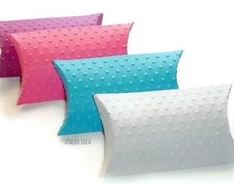15 Polka Dots Embossed Pillow Boxes-Candy Box, Favor Box, Gift Box-CHOOSE YOUR COLORS-Set of 15pcs
