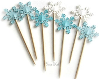 Mixed Blue & White Double sided Arctic Snowflake Cupcake Toppers, Paper Snowflakes Decoration - Set of 12pcs, 24pcs or Choose Your Colors