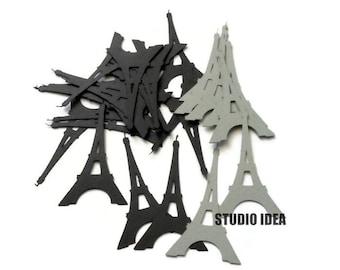 """Black & Grey  2.5"""" Eiffel Tower Cut outs, Confetti-Vintage Cut outs- or Choose Your Colors-Set of 40pcs, 80pcs, 120pcs"""
