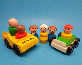 Vintage Little People by Fisher Price, Taxi and Car with Six Little People