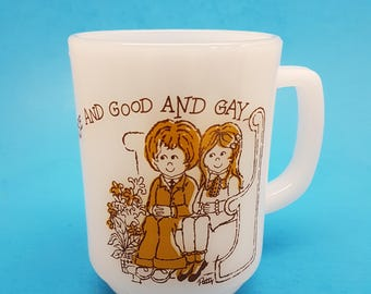 "Rare Fire King Mug ""Sabbath Day is Fair and Wisee and Gay"""