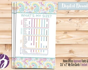 Retailer My Size Card / Paisley / Printable / Instant Download /