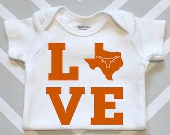 University of Texas Love Baby Onesie - Great UT Longhorn Baby Shower Gift!