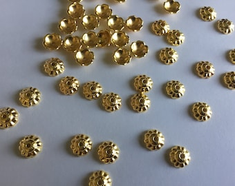 100 pieces Gold Bead Caps,jewellery Making Supplies, Jewelry Finding,Craft Supplies,Flower Bead Caps,Bead Caps,Gold Bead Caps, Making