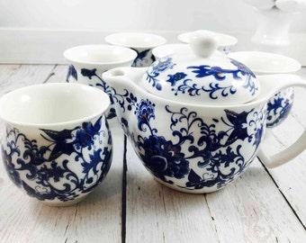 Chinoiserie Teapot,Blue and White Ceramic Teapot,Art Make Taste,Tea Set,Ciyiyuan,blue and white,tea cups,teapot,asian tea set,japan,chinese