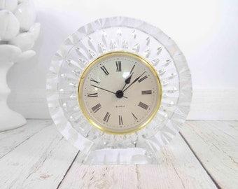 Cristal d Arques, Crystal Clock,desk clock,lead crystal clock,France,Garanti Crystal Clocks,battery operated,desk clock