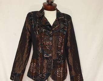 Connies moonlight art to wear metallic crinkle jacket