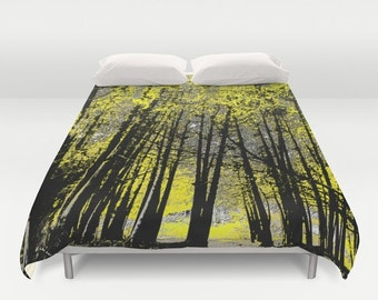yellow forest duvet cover trees photo nature black white gray yellow