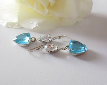 Aqua Heart Earrings Sterling Silver Earrings Dangle Earrings Blue Earrings Victorian Earrings Valentine Earrings