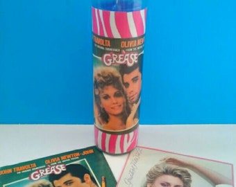 Two Sided Grease/Olivia Newton John Glass Candle, Container Candle, Grease Candle, Retro Movie Candle, Olivia Newton John, Made By Mod.