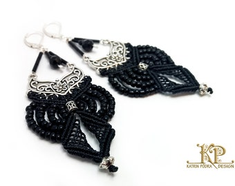 Very lightweight Micro-macrame earrings, classic black and silver jewelry, Silver 925 leverback hooks, Toho glassbeads and waxed thread