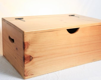 Storage Box - Wooden - Large - Flat Top - Hinged Lid - Versatile storage for the home
