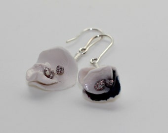 Porcelain and silver earrings light white and cobalt blue