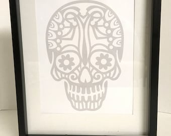Sugar Skull Wall Art , Decor , Print , house , home , laminated , Gift , Day Of The Dead