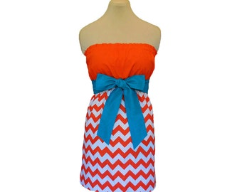 Orange + Aqua Chevron Game Day Dress