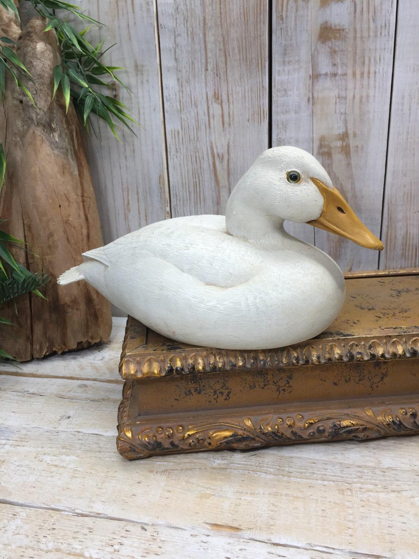 White duck decoy goose primitive home decor duck for Duck decorations home