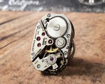 Benrus Watch Movement, Silver Tie Tack, Benrus Tie Tack, Steampunk Tie Tack, Lapel Pin, Benrus Lapel Pin, Silver Tie Tack, Tie Tack, Watch