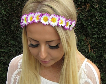 Purple White Daisy Flower Garland Headband Hair Crown Festival Boho Floral 1675