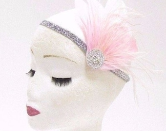 Light Pink Silver Feather Headband 1920s Flapper Headpiece Great Gatsby Vtg 2806
