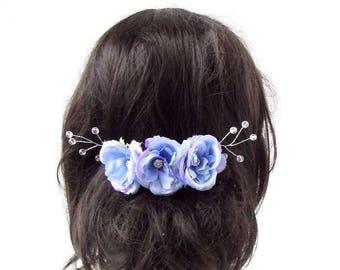 Lilac Light Purple Silver Blue Rose Flower Vine Hair Comb Bridal Bridesmaid 2899