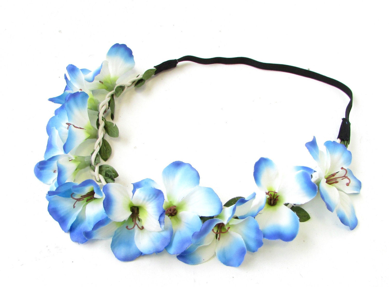 Blue white hibiscus flower headband hair crown festival garland blue white hibiscus flower headband hair crown festival garland hawaiian vtg 740 izmirmasajfo Images
