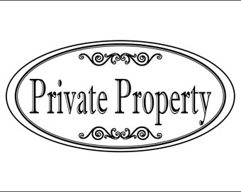 """Oval """"Private Property"""" sign - 3.75"""" x 7.75"""" - Free Shipping"""