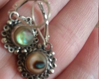 Vintage Sterling Abalone Earrings