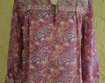 Vtg Deadstock 1970s Indian Sheer Gauze Cotton Top Blouse Boho Hippie Festival Block Print Paisley Floral Small