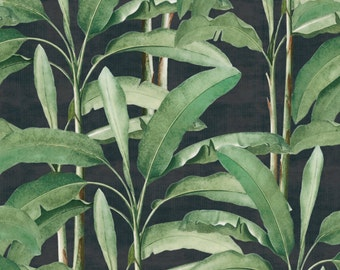 Tropical Leaves on Ebony Easy to Apply Removable Peel 'n Stick Wallpaper
