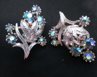 Vintage Coro Earrings Aurora Borealis rhinestones blue flower silver Tone Clip on sparkly earrings AB earrings vintage earrings gorgeous