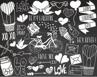 SALE. Chalkboard Valentines Day Clipart. Doodle Love, Wedding Clip Art. White Chalk Heart, Arrow, Flower, Lettering Doodle Illustrations.