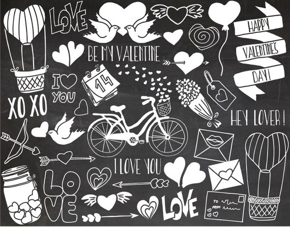 SALE. Chalkboard Valentines Day Clipart. Doodle Love ...