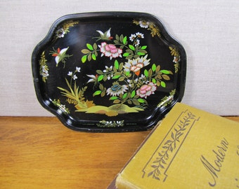 Elite - China Woods - Small Metal Tray - Black With Flowers and Gold Accent - Made in England