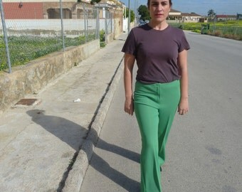 vintage 70s green palazzo pants