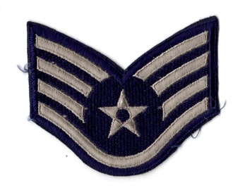 Vintage Air Force Staff Sergeant E-5 Patch - Silver on Blue ~ 4 x 3 1/2 inches