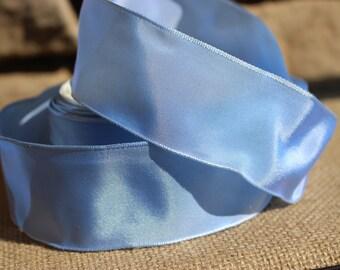 "Vintage French Wired Taffeta Ribbon, Light Blue, 1.5"" Width  - 1 Yard"