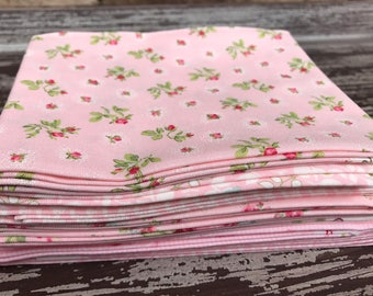 "Floral Fabric, Moda,""Caroline"" by Brenda Riddle Designs,  7 Piece Fat Quarter Bundle in Baby Pink, Cotton"