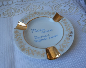 REDUCED TO CLEAR stunning vintage Limoges porcelain round shaped table ashtray