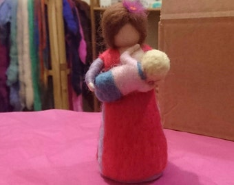 Breastfeeding mum, Standing doll, Nursing mother, Waldprf inspired needle felted mpther and child