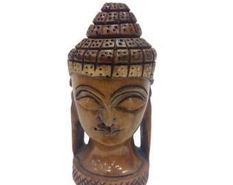 """Wooden Hand Carved Buddha Face """"5 Inches'"""