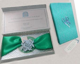 50 Personalised Luxury Royal Wedding Boxed Invitations Silk Folio invitations Muslim Hindu Wedding Cards Invitations