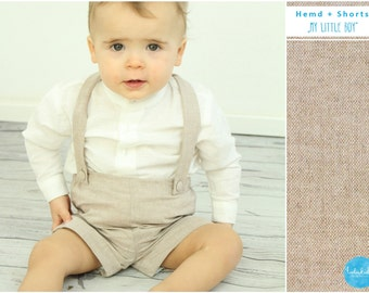 christening outfit baby boy babtism set beige brown shorts off-white long sleeve linen baby shirt