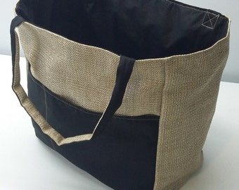 Reversible Tote Bag - Tan Canvas With a Hessian Look & Black Broadcloth