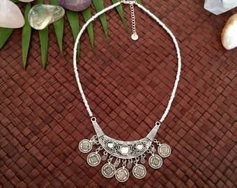 Gypsy goddess necklace - Tribal bib statement necklace with coins