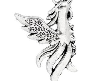 8 Phoenix Bird Flames Antique Silver Charms 24mm x 34mm (827)