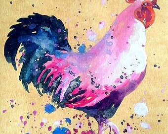 ORIGINAL Watercolor Painting Rooster Art Chicken by Tara Tet